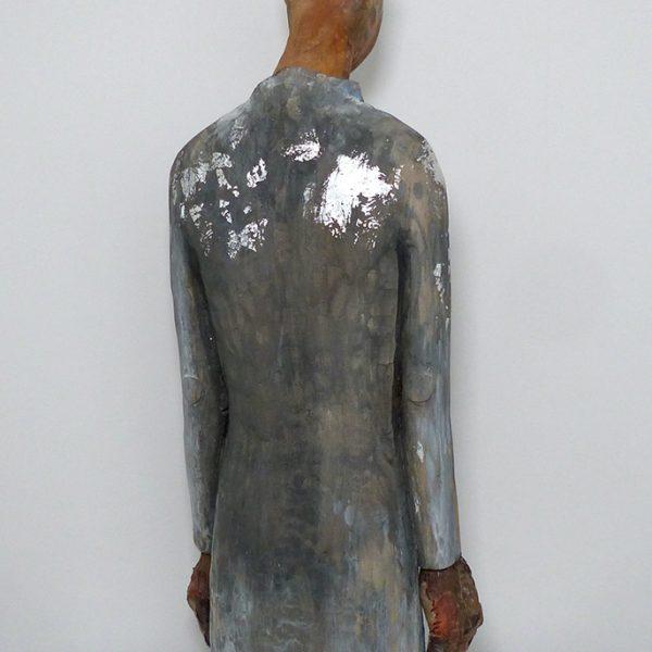 Anima, Carlos Zapata 2020. Polychrome wood and textiles, 95 cm high.