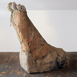Carmen's Foot, Carlos Zapata 2017. Hessian and other textiles, H 230 x W 180 x D 75 cm.