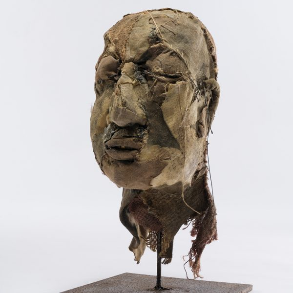 Carmen's Head, Carlos Zapata 2017. Hessian and other Textiles, 45cm high.