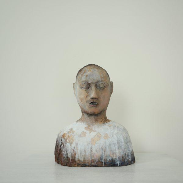 Charon's Obol, Carlos Zapata 2021. Polychrome wood, H 43cm x W 33cm x D 19cm.