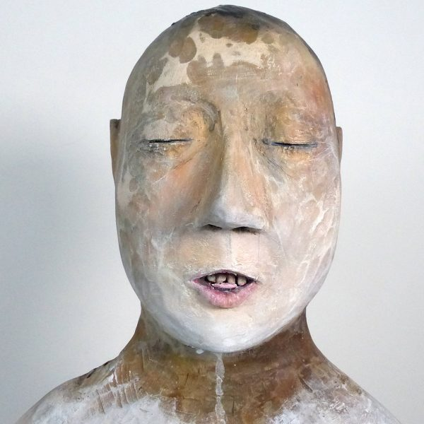 Forbidden Mother Tongue, Carlos Zapata 2020. Polychrome wood, H 87cm  x W 30cm x D 26cm.
