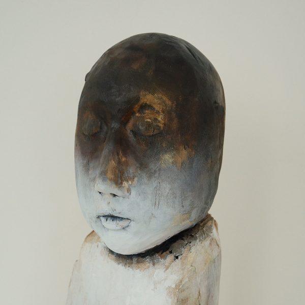 Head, Carlos Zapata 2021. Polychrome wood, H 40cm x W 17cm x D 20cm.