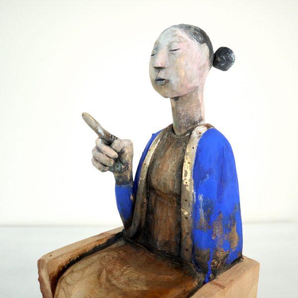 Madona, Carlos Zapata 2021. Polychrome Wood. H 35cm x W 16cm x D 16 cm.