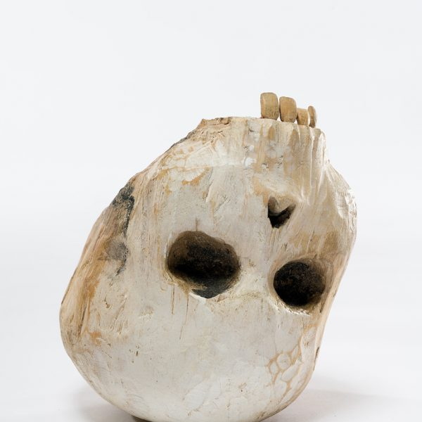 Skull, Carlos Zapata 2019. Polychrome wood, H 19cm x W 15cm x D 20 cm.